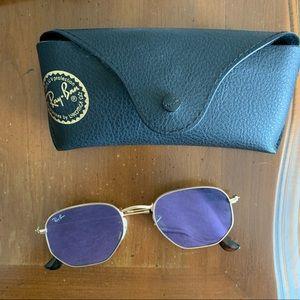 Rayban Sunglasses: Hexagonal flat lens (purple)